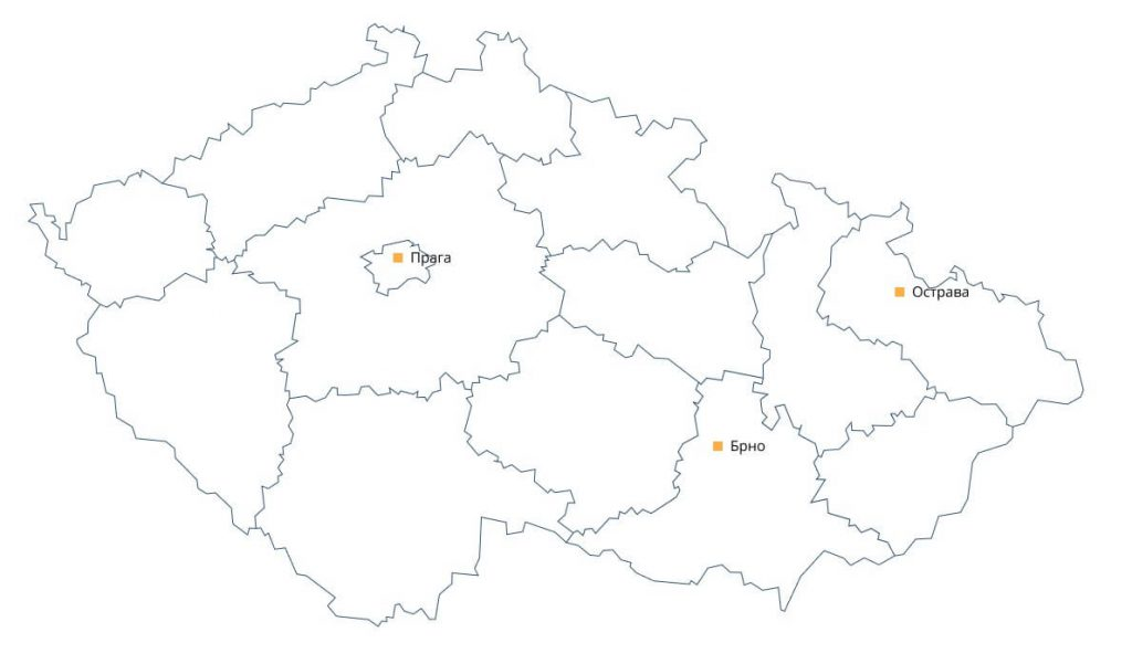 Карта Чехии с городами отправки сборных грузов