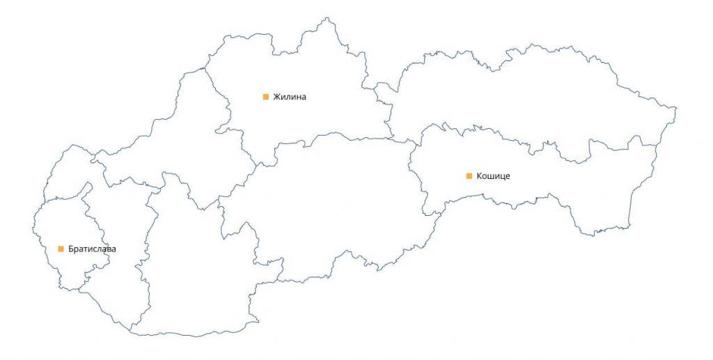 Карта Словакии с городами отправки грузов