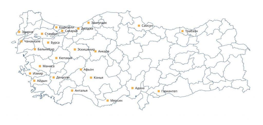 Карта Турции с городами откуда осуществляется перевозка грузов в Россию